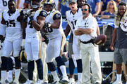 Head coach Jeff Fisher of the Los Angeles Rams watches his team during the second quarter of the game against the Carolina Panthers at the Los Angeles Coliseum on November 6, 2016 in Los Angeles, California.