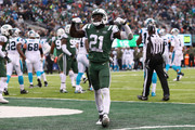 Cornerback Morris Claiborne #21 of the New York Jets reacts during the second half of the game at MetLife Stadium on November 26, 2017 in East Rutherford, New Jersey.  The Carolina Panthers won 35-27.