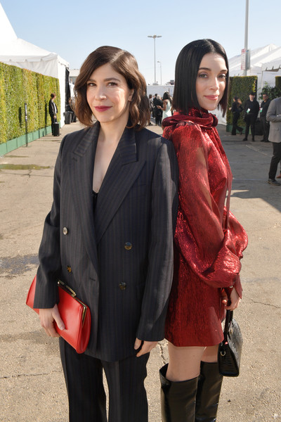 2020 Film Independent Spirit Awards  - Cocktail Reception [people,clothing,snapshot,fashion,outerwear,costume,street fashion,smile,photography,jacket,st. vincent,carrie brownstein,l-r,santa monica,california,film independent spirit awards,reception,carrie brownstein,zazie beetz,35th independent spirit awards,hollywood,joker,academy awards,photograph,just jared,livingly media]