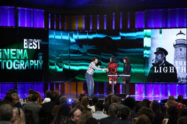2020 Film Independent Spirit Awards  - Show [stage,performance,event,display device,convention,stage equipment,projection screen,technology,performing arts,music venue,carrie brownstein,jon glaser,l-r,st. vincent,santa monica,california,film independent spirit awards,show,musician,actor,theatre,concert,photograph,guitar,image,sleater-kinney]