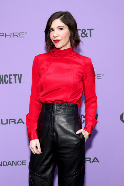 """2020 Sundance Film Festival - """"The Nowhere Inn"""" Premiere [clothing,red,fashion,pink,leather,shoulder,waist,fashion model,lip,joint,carrie brownstein,the nowhere inn,utah,park city,library center theater,sundance film festival,premiere,the nowhere inn premiere,carrie brownstein,celebrity,photograph,model,photography,getty images,2020 sundance film festival,image]"""