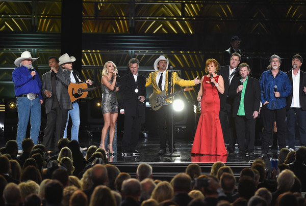 The 50th Annual CMA Awards - Show [performance,entertainment,event,performing arts,music,stage,concert,public event,performance art,crowd,l-r,cma awards - show,charley pride,charlie daniels,vince gill,reba mcentire,brad paisley,dwight yoakam,randy travis,carrie underwood]