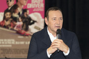 Actor/producer Kevin Spacey speaks on stage at the Cars, Arts & Beats: A Night Out With 'Baby Driver' event at the Petersen Automotive Museum on October 4, 2017 in Los Angeles, California.