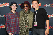 (L-R)Rebecca Sugar, Estelle and Zach Callison attends the Cartoon Network Super Panel: CN Anything at New York Comic Con 2014 at Jacob Javitz Center on October 11, 2014 in New York City. 24884_011_0006.JPG