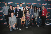 Pete Browngardt, Paula Spence, Sam Marin, Eric Bauza,  Spencer Rothbell, Kent Osborne, Jessica DiCicco, Patrick McHale, Collin Dean, Melanie Lynskey, Estelle, Rebecca Sugar, and Zack Callison attend the Cartoon Network Super Press Hour: CN Anything at New York Comic Con 2014 at Jacob Javitz Center on October 12, 2014 in New York City.  24884_011_0341.JPG