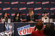 (L-R) Actress Shelby Rabara, animator Niki Yang, actor Greg Cipes and animator Rebecca Sugar speak onstage at the Cartoon Network Screening: Steven Universe. Cartoon Network at New York Comic Con at Jacob Javitz Center on October 10, 2015 in New York, United States. 25749_001 257.JPG