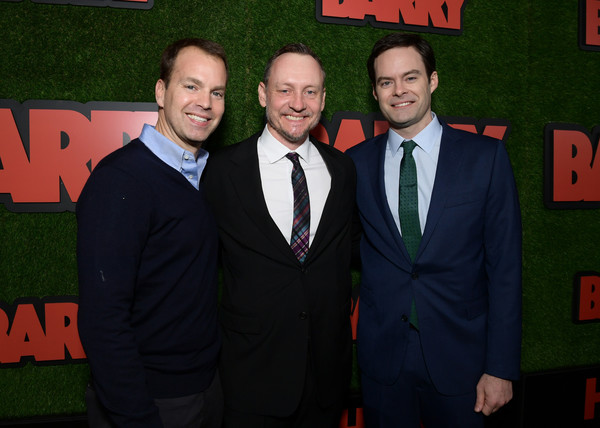 Premiere Of HBO's 'Barry' - Red Carpet [suit,green,premiere,event,formal wear,tuxedo,carpet,flooring,fictional character,tie,red carpet,barry,bill hader,alec berg,casey bloys,los angeles,california,hbo,premiere,premiere]