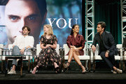 (L-R) Actors Penn Badgley, Elizabeth Lail, Shay Mitchell and John Stamos of Lifetime's 'YOU' speak onstage during The 2018 Summer Television Critics Association Press Tour on July 26, 2018 in Los Angeles, California.