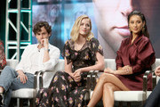 (L-R) Actors Penn Badgley, Elizabeth Lail and Shay Mitchell of Lifetime's 'YOU' speak onstage during The 2018 Summer Television Critics Association Press Tour on July 26, 2018 in Los Angeles, California.