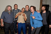 Actors Mark Boone Junior, Charlie Hunnam, Theo Rossi, Kim Coates and Niko Nicotera pose with guest at Cast of FX's 'Sons of Anarchy' Host 'Boot Bash' benefiting The Boot Campaign at The Bunker Lofts on August 2, 2014 in Los Angeles, California.