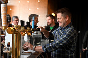 Actor Nick Offerman pours a perfect pint of Guinness Draught to celebrate the countdown to St. Patrick's Day on February 28, 2020 in New York City.