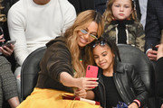 Beyonce and Blue Ivy Carter attend the NBA All-Star Game 2018 at Staples Center on February 18, 2018 in Los Angeles, California.