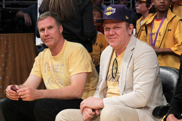 Will Ferrell John C. Reilly Celebrities At The Lakers Game