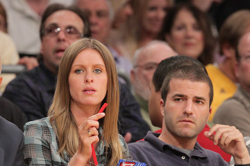 Nicky Hilton David Katzenberg Celebrities At The Lakers Game