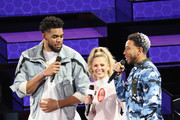 Karl-Anthony Towns, Allie LaForce, and Ludacris speak during the 2019 State Farm All-Star Saturday Night at Spectrum Center on February 16, 2019 in Charlotte, North Carolina.