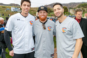 """Christian Yelich, Justin Turner and Ryan Braun attend a charity softball game to benefit """"California Strong"""" at Pepperdine University on January 13, 2019 in Malibu, California."""