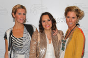 (L-R) Designer Heidi Middleton, media personailty Mia Freedman and designer  Sarah-Jane Clarke pose as they attend the launch of the Range Rover Evoque on June 29, 2011 in Melbourne, Australia.