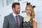 Kris Smith and Laura Dundovic at the Myer Marquee on Stakes Day at Flemington Racecourse on November 8, 2014 in Melbourne, Australia.