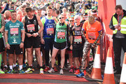 Celebrities including James Cracknell, Kelly Holmes, Iwan Thomas and Natalie Dormer on the start line at the Virgin London Marathon 2016 on April 24, 2016 in London, England.
