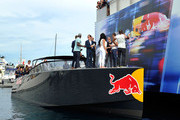 Michael Carrick, Reggie Bush, Lilit Avagyan, Benedict Cumberbatch and Disclosure prepare to watch Danny MacAskill front flip off of the Red Bull Energy Station during the Monaco Formula One Grand Prix at Circuit de Monaco on May 25, 2014 in Monte-Carlo, Monaco.