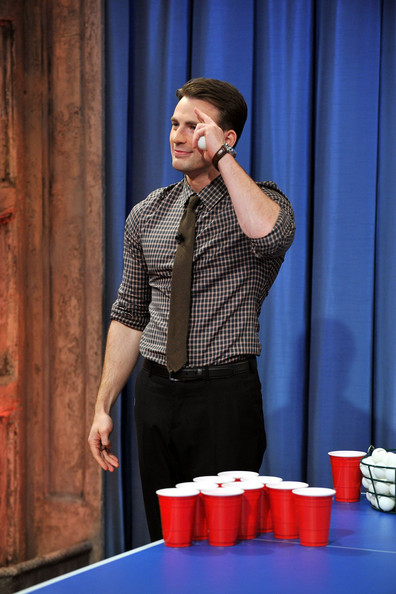 "Chris Evans visits ""Late Night With Jimmy Fallon"" at Rockefeller Center on July 12, 2011 in New York City."