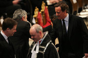 British Prime Minister David Cameron (R) greets former prime minister Gordon Brown during the Ceremonial funeral of former British Prime Minister Baroness Thatcher at St Paul's Cathedral on April 17, 2013 in London, England. Dignitaries from around the world today join Queen Elizabeth II and Prince Philip, Duke of Edinburgh as the United Kingdom pays tribute to former Prime Minister Baroness Thatcher during a Ceremonial funeral with military honours at St Paul's Cathedral. Lady Thatcher, who died last week, was the first British female Prime Minister and served from 1979 to 1990