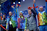 Gilbert Felli (2nd R), IOC Executive Director for the Olympic Games joins Yelena Isinbayeva (C), mayor of the Olympic Village and Dmitry Chernyshenko (2nd L), Sochi 2014 Olympics President and CEO, for a ribbon cutting ceremony to open the coastal Olympic Village at the 2014 Winter Olympics January 30, 2014 in Sochi, Russia. The Olympics are set to open February 7, and run through the 23.