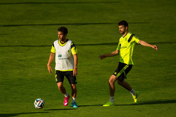 Cesc Fabregas Gerard Pique Spain Training Session