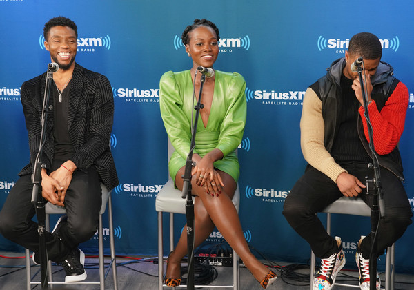 Michael B Jordan Chadwick Boseman Lupita Nyong O Chadwick Boseman And Lupita Nyong O Photos Siriusxm S Town Hall With The Cast Of Black Panther Zimbio