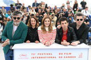 """(L-R) Director Christophe Honore, Camille Cottin, Chiara Mastroianni, Vincent Lacoste and  Benjamin Biolay attend the photocall for """"Chambre 212"""" during the 72nd annual Cannes Film Festival on May 20, 2019 in Cannes, France."""