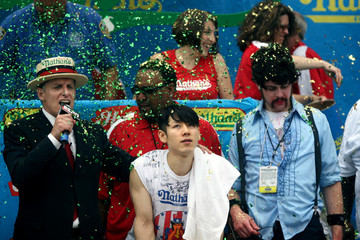 Patrick Bertoletti Champions Compete In Nathan's Annual Hot Dog Eating Contest