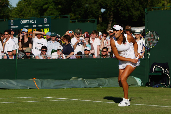 Ana Ivanovic of Serbia serves during the women's singles first round match against Lucie Hradecka of Czech Republic on Day Two of the Wimbledon Lawn Tennis Championships at the All England Lawn Tennis and Croquet Club on June 23, 2009 in London, England.