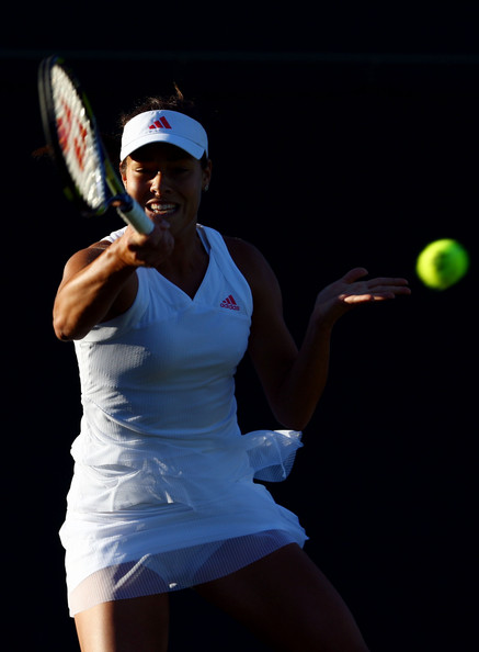 Ana Ivanovic of Serbia plays a forehand during the women's singles first round match against Lucie Hradecka of Czech Republic on Day Two of the Wimbledon Lawn Tennis Championships at the All England Lawn Tennis and Croquet Club on June 23, 2009 in London, England.