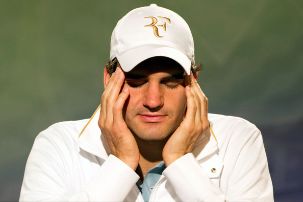 Roger Federer of Switzerland speaks during a press conference on Day Nine of the Wimbledon Lawn Tennis Championships at the All England Lawn Tennis and Croquet Club on June 30, 2010 in London, England.
