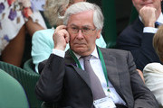 Sir Mervyn King watches the Gentlemen's Singles semi-final match between Novak Djokovic of Serbia and Juan Martin Del Potro of Argentina on day eleven of the Wimbledon Lawn Tennis Championships at the All England Lawn Tennis and Croquet Club on July 5, 2013 in London, England.