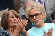 Princess Michael of Kent and Lady Annabel Goldsmith watch the Gentlemen's Singles semi-final match between Novak Djokovic of Serbia and Juan Martin Del Potro of Argentina on day eleven of the Wimbledon Lawn Tennis Championships at the All England Lawn Tennis and Croquet Club on July 5, 2013 in London, England.