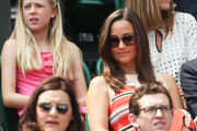 Pippa Middleton watches the Gentlemen's Singles semi-final match between Novak Djokovic of Serbia and Juan Martin Del Potro of Argentina on day eleven of the Wimbledon Lawn Tennis Championships at the All England Lawn Tennis and Croquet Club on July 5, 2013 in London, England.
