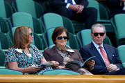 Jacques Rogge and Anne Rogge (C) attends the Gentlemen's Singles Final match between Andy Murray of Great Britain and Novak Djokovic of Serbia on day thirteen of the Wimbledon Lawn Tennis Championships at the All England Lawn Tennis and Croquet Club on July 7, 2013 in London, England.