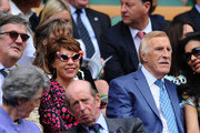 Stephen Fry, Kathy Lette, Sir Bruce Forsyth, Wilnelia  Forsyth, Lady Susan Hussey and Prince Edward, Duke of Kent attend the Ladies' Singles second round match between Eugenie Bouchard of Canada and Ana Ivanovic of Serbia on day three of the Wimbledon Lawn Tennis Championships at the All England Lawn Tennis and Croquet Club on June 26, 2013 in London, England.