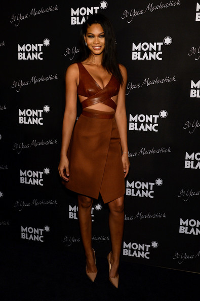 Montblanc Celebrates 90 Years of the Iconic Meisterstuck [montblanc celebrates,guastavino,clothing,dress,cocktail dress,fashion model,shoulder,brown,fashion,joint,little black dress,footwear,new york city,chanel iman,iconic meisterstuck]