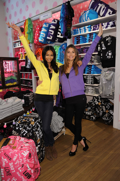 Chanel Iman (L-R) Models Chanel Iman and Lily Aldridge reveal their favorite holiday gift picks at Victoria's Secret PINK, Soho on November 22, 2010 in New York City.