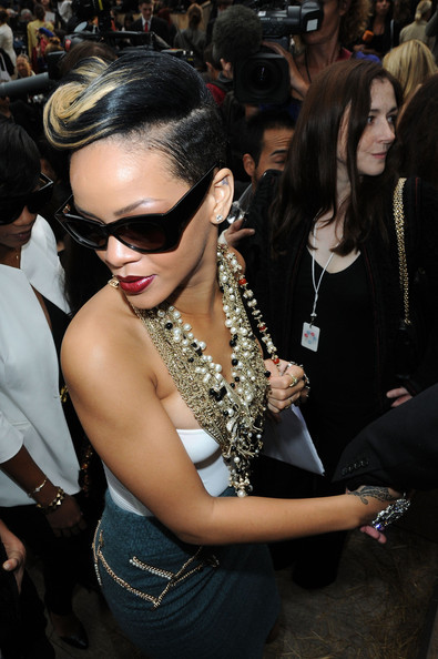 Rihanna attends the Chanel Pret a Porter show as part of the Paris Womenswear Fashion Week Spring/Summer 2010 at Grand Palais on October 6, 2009 in Paris, France.