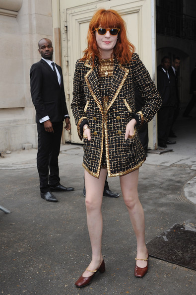 Florence Welch arrives for the Chanel Ready to Wear Spring/Summer 2011 show during Paris Fashion Week at Grand Palais on October 5, 2010 in Paris, France.