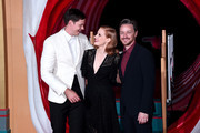 "(L-R) Bill Skarsgård, Jessica Chastain and James McAvoy attend the ""IT Chapter Two"" European Premiere at The Vaults on September 02, 2019 in London, England."