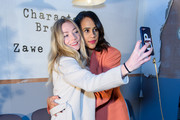 """Clara Paget and Zawe Ashton at the """"Character Breakdown"""" by Zawe Ashton book launch at Wild By Tart on April 03, 2019 in London, England."""