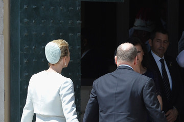 Charlene Wittstock Prince Albert of Monaco and Princess Charlene Of Monaco Walk On The Palace Square after the Baptism Of Their Twins