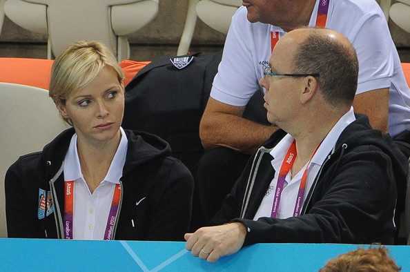 Charlene Wittstock Princess Charlene and Prince Albert II of Monaco attend the swimming competitions at Aquatics Centre on July 29, 2012 in London, England.
