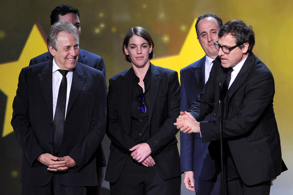 19th Annual Critics' Choice Movie Awards Show [event,yellow,suit,management,businessperson,gesture,formal wear,award,white-collar worker,business,award,l-r,critics choice movie awards,show,david o. russell,producers,charles roven,jonathan gordon,richard suckle,megan ellison]