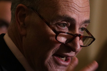 Charles Schumer Senate Lawmakers Address the Media After Their Weekly Policy Luncheons