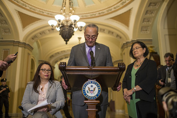 Charles Schumer Senate Lawmakers Speak To The Media After Their Weekly Policy Luncheons